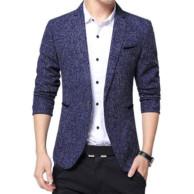 HX fashion Chaqueta De Vestir Slim Fit Leisure Blazer para Hombres Tamaños Cómodos Chaqueta De Traje De Un Botón Chaqueta Blazer Casual para Hombres Ropa: ...
