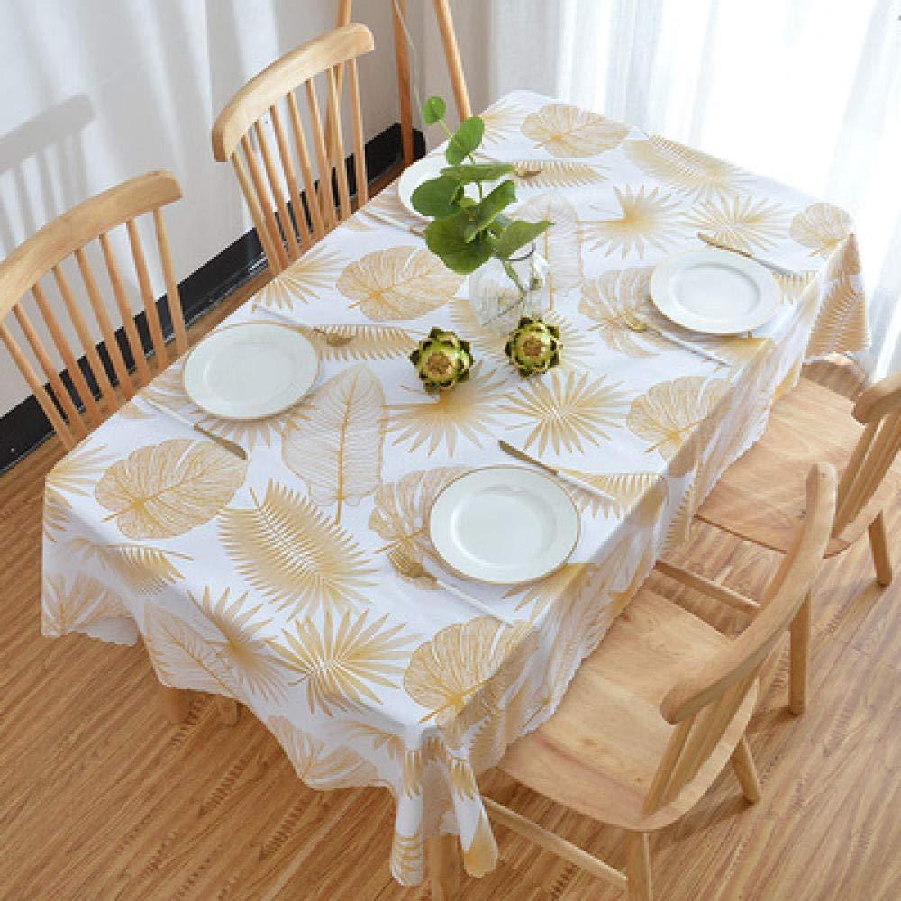 WJJYTX Wachstuch tischdecke, Quadratische Tischdecke für Tischtücher PVC Tischtuch ölbeständig/wasserdicht schmutzabweisend Verbrühschutz Kaffeetischdecke Blätter @ 120 * 160