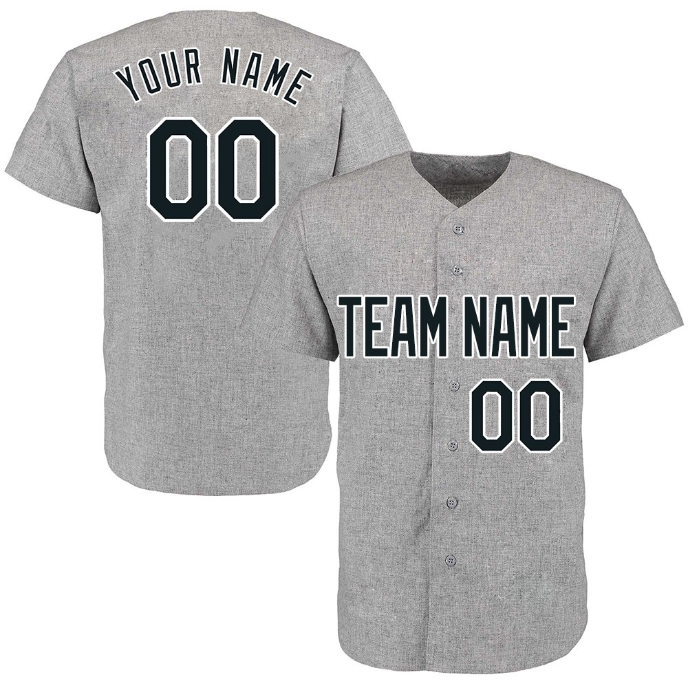 Custom Women's Gray Throwback Baseball Jerseys Button Down with Embroidered Team Name Player Name and Numbers,Black and White Size M by DEHUI
