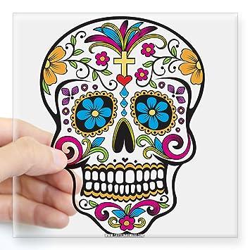 Cafepress day of the dead sugar skull halloween sticker square bumper sticker car