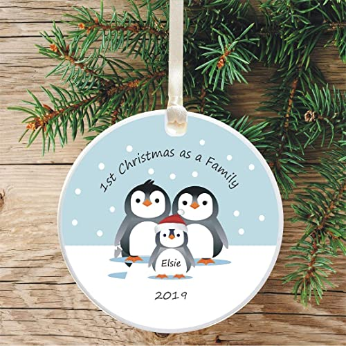 Personalised Penguin Christmas Tree Decorations Hanging Xmas Ornaments Baubles