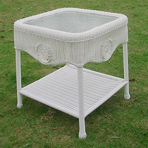 International Caravan Furniture Piece Wicker Glass Top Side Table