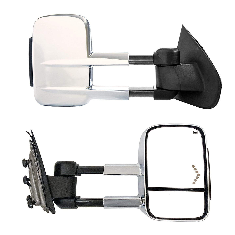 Galaxy Auto Telescopic Towing Mirrors for 2014-18 Chevy Silverado//GMC Sierra 1500 /& 2015-18 Silverado//Sierra 2500//3500 Arrow Light in Glass Powered Turn Signals Chrome Pair Set Heated
