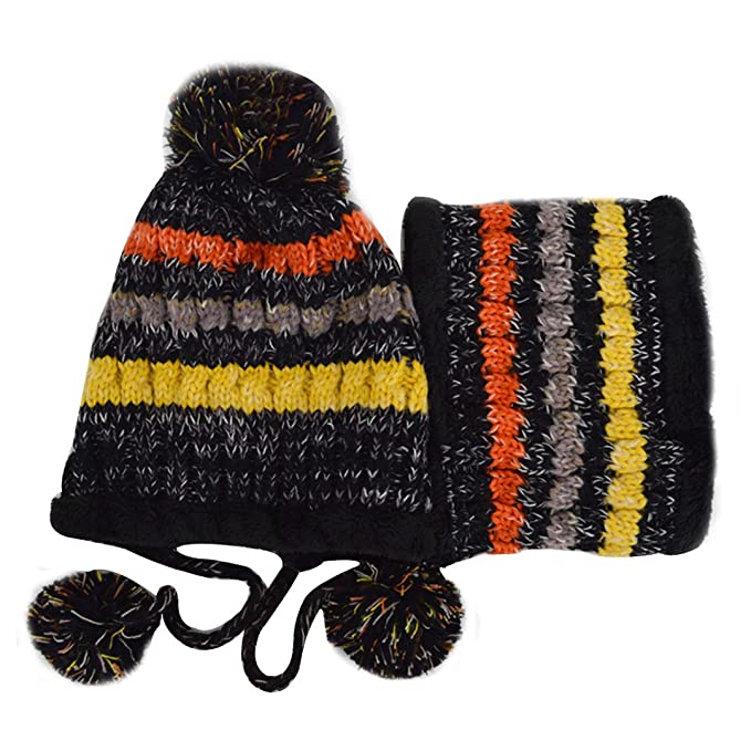 05ec50a80cdc61 Kennedy Fashion Women Knitted Hat And Warm Scarf Set Colorful Stripes  Thicken Fleece Lined Hat Scarf