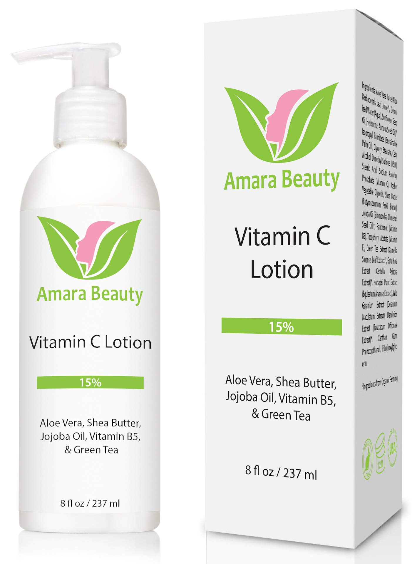 Vitamin C Face & Body Lotion 15% - with Shea Butter & Jojoba Oil - 8 oz by Amara Beauty
