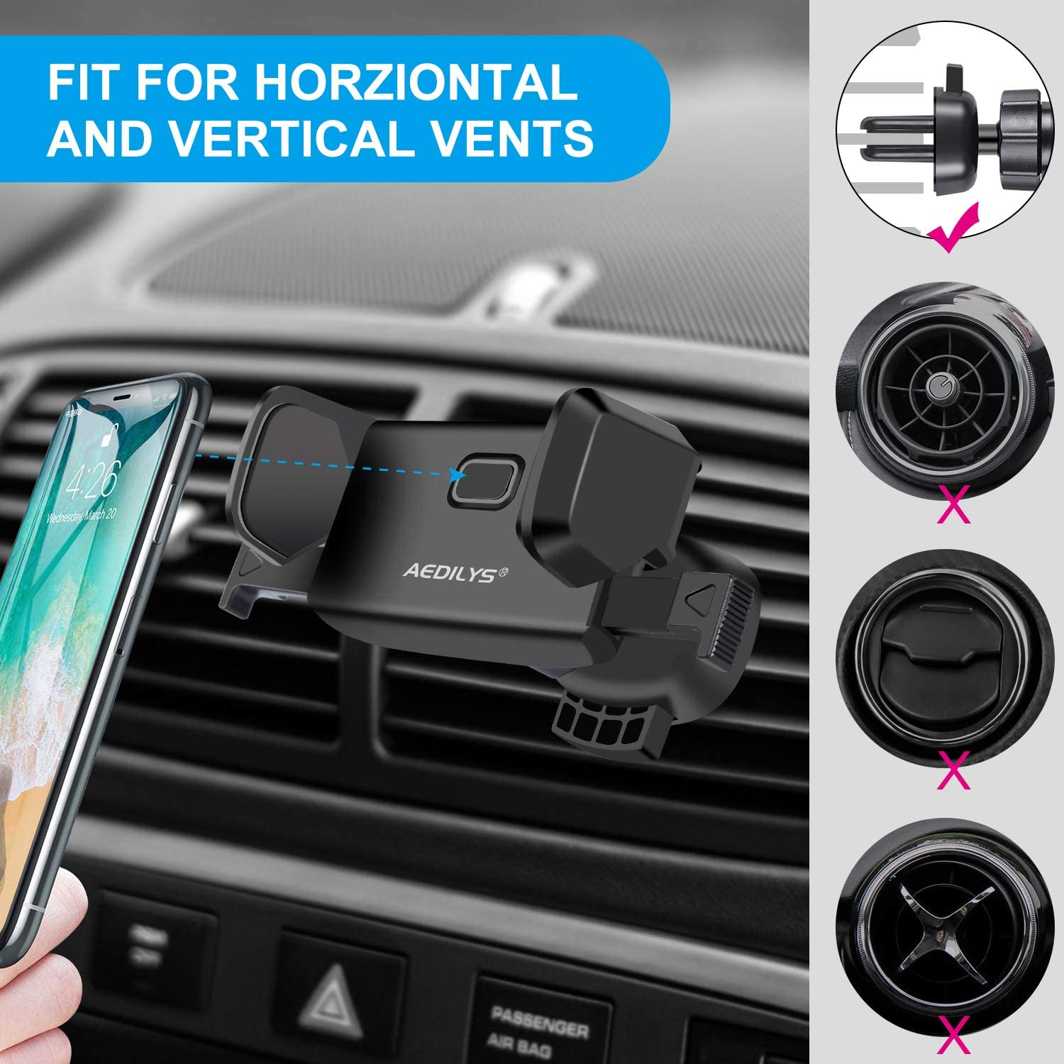Cell Phone Holder for Car Samsung Galaxy S7//S8 edge//S9//S10 and Universal Smartphones GPS and More 360 Rotation Universal Air Vent Car Phone Mount for iPhone 11//iphone11pro max//X//8 Plus//SE