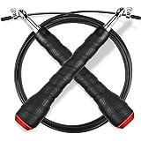 Springseil, Gritin 3M Stahlseil Jump Speed Rope seilspringen Profi Stahlkugellager leicht Verstellbare mit gemütlich Griff für Sport&Fitness-Ideal für:Boxen,Crossfit,MMA und Fitnessübungen-Schwarz