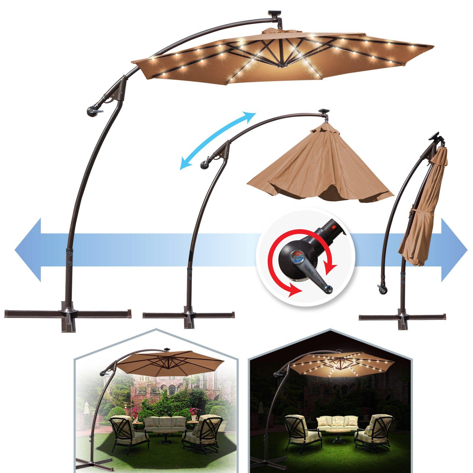 BenefitUSA 9' Cantilever 40 LED Light Patio Umbrella Outdoor Garden Sunshade (Tan) by BenefitUSA