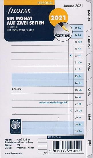 Filofax Personal Calendar Insert 2 Days 1 Page 2021