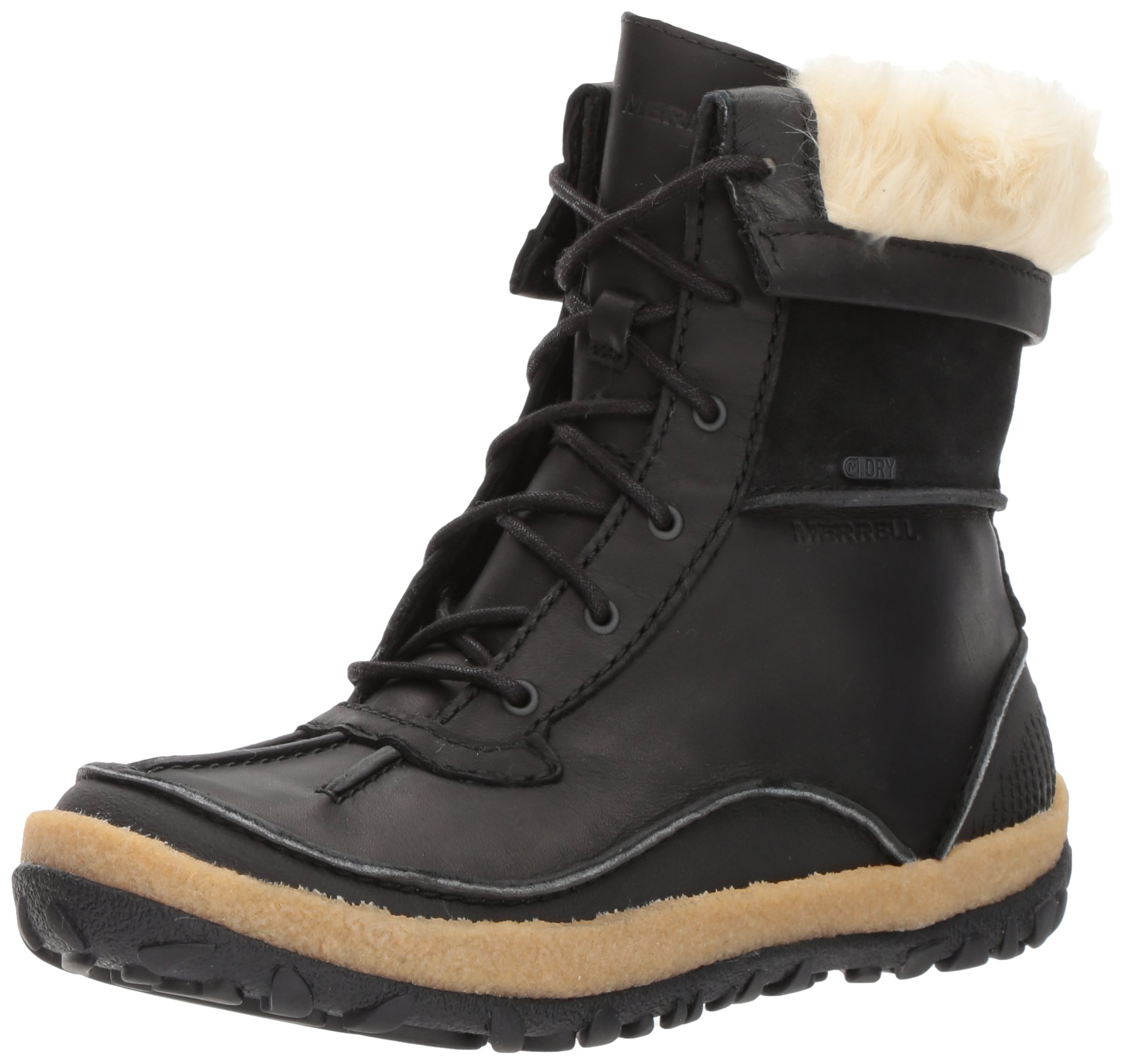 Merrell Women's Tremblant Mid Polar Waterproof Snow Boot, Black, 7.5 M US