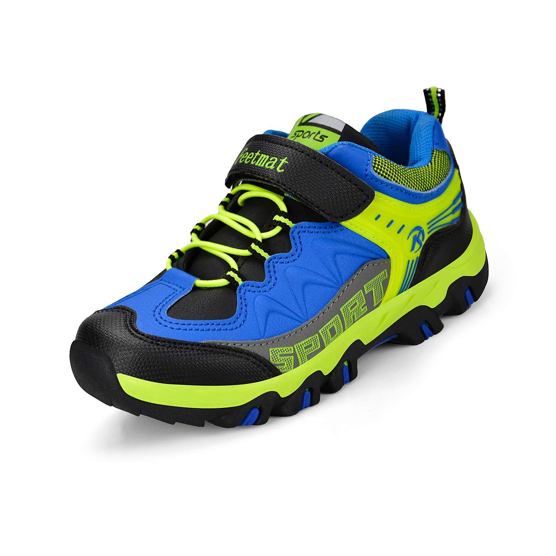 ZOCAVIA Boys Shoes Athletic Hiking Walking Sneakers Kids Black Blue Size 4 M US Big Kid