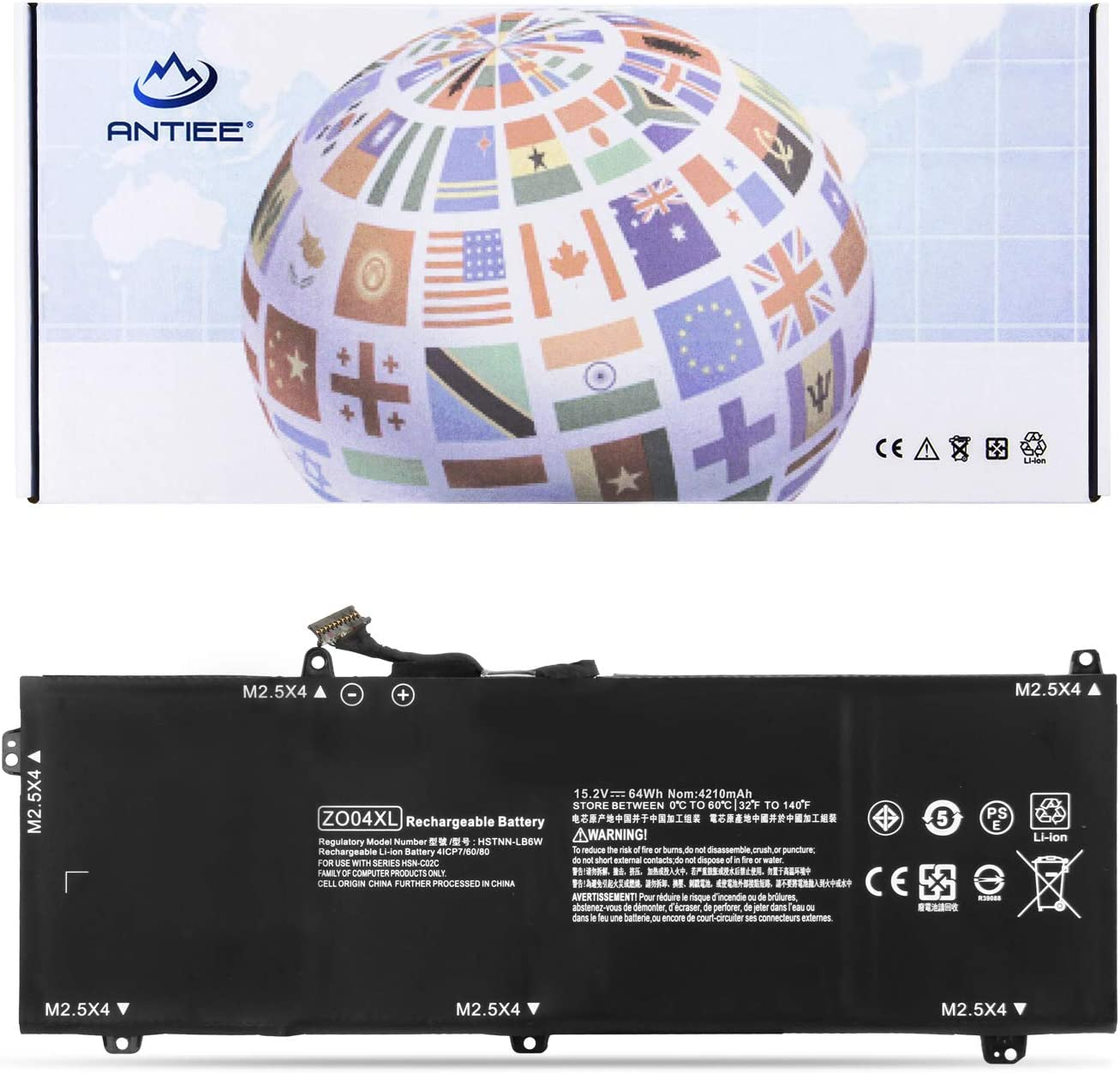 ANTIEE ZO04 ZO04XL Laptop Battery for HP ZBook Studio G3 Mobile Workstation Series 808396-421 808450-001 HSTNN-CS8C HSTNN-C88C HSTNN-LB6W ENR606080A2-CZO04 15.2V 64Wh