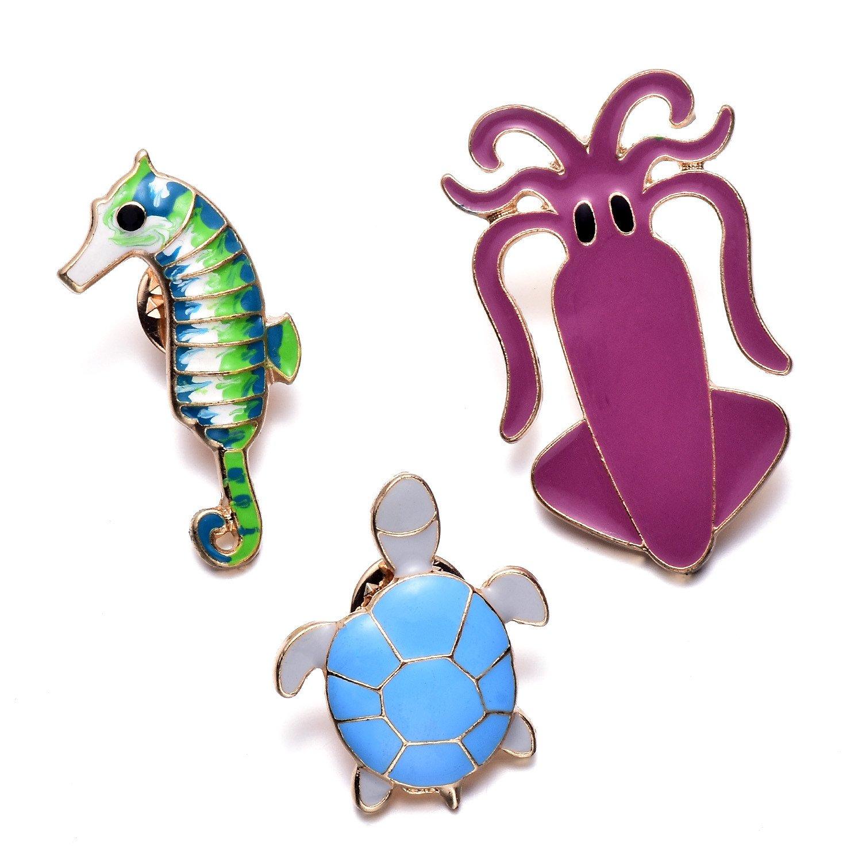 Onnea Femmes Filles Mignon Émail Tortue Hippocampe Octopus Broches Épinglettes Pins Badge Set pour Vêtements Sac Décor Bensoco xz-024