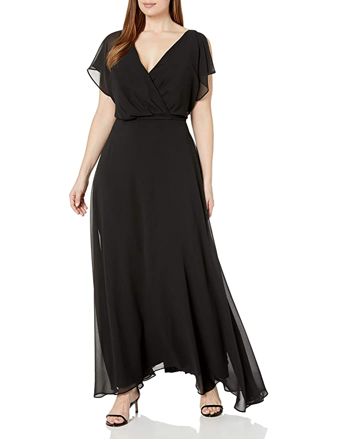 60s 70s Plus Size Dresses, Clothing, Costumes City Chic Womens Apparel Womens Plus Size Off The Shoulder Maxi Dress with Lace Overlay $144.20 AT vintagedancer.com