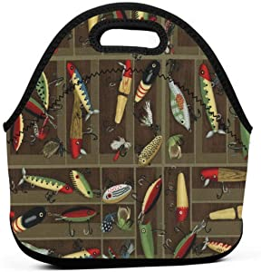Vintage Fishing Lure Style Insulated Neoprene Lunch Bag Tote Handbag lunchbox Food Container Gourmet Tote Cooler warm Pouch For School work Office