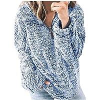 FAPIZI Women's Casual Long Sleeve Zip Fluffy Sherpa Sweatshirt Winter Warm Fuzzy Fleece Oversized Coat Jacket Pullover