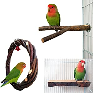 kathson Bird Perch for Cage, Parrot Swing Toys, Natural Apple Wood Circle Ring Parakeet Perch Swing Toys, Birdcage Stands Platform Pet Bird Toys for Budgie Conure Finches Exercise