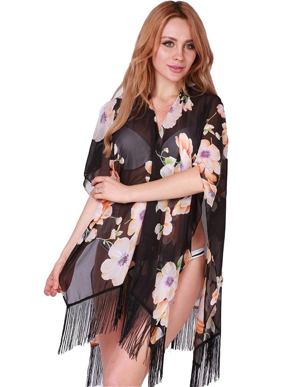 Hengsong Damen Casual Floral Schal Cover Up Blumen Drucken Chiffon Hemd Tops Strand Cardigan mit Fransen