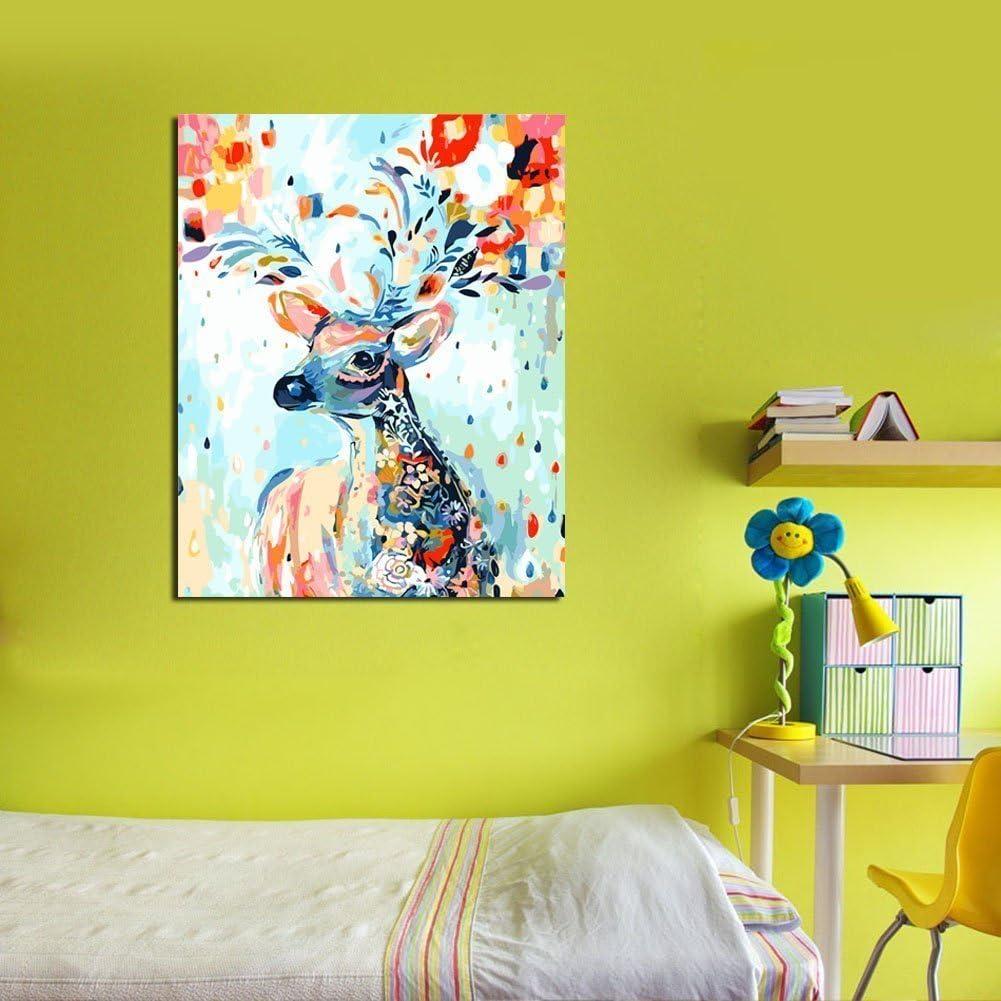YXQSED Cornice di Legno Dipingere con i Numeri per Adulti e Bambini Vernice di Numero Kit Gatto colorato 16X20 inch