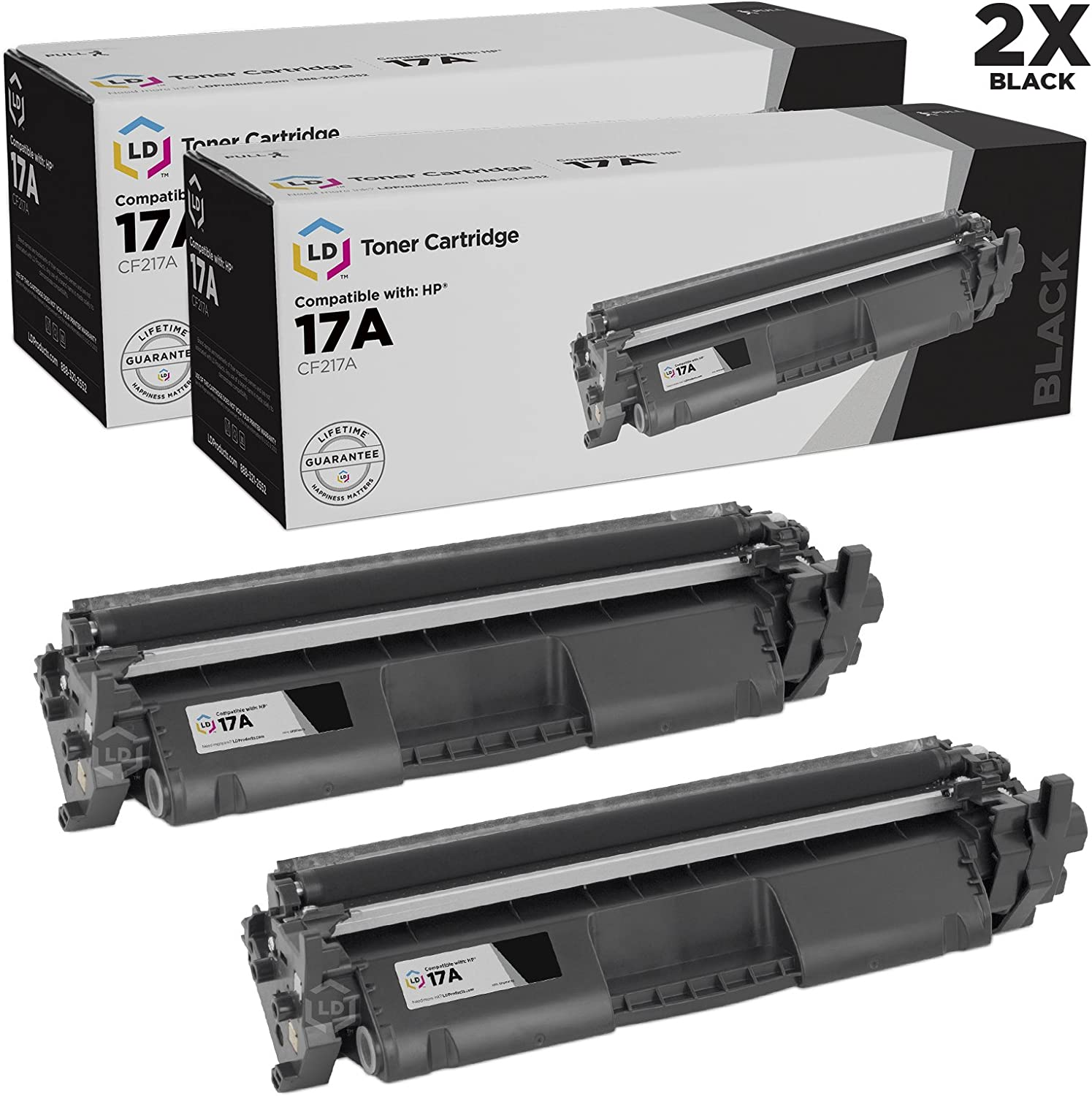 LD Compatible Toner Cartridge Replacement for HP 17A CF217A (Black, 2-Pack)