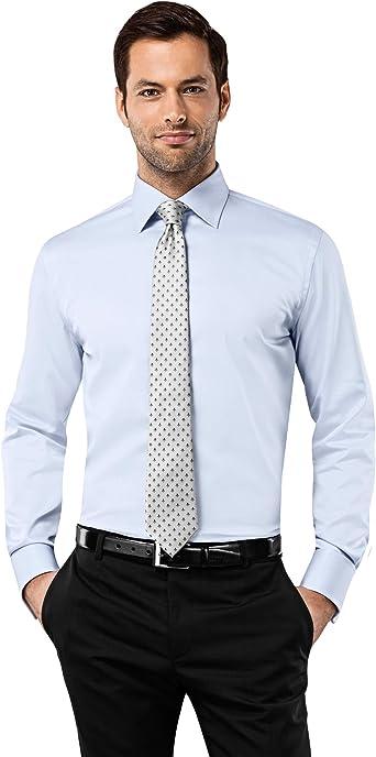 Vincenzo Boretti Camisa de Hombre, Ajustada Entallada (Slim-fit), 100% algodón, Manga-Larga, Cuello Kent, puño Reversible Lisa - no Necesita Plancha: Amazon.es: Ropa y accesorios