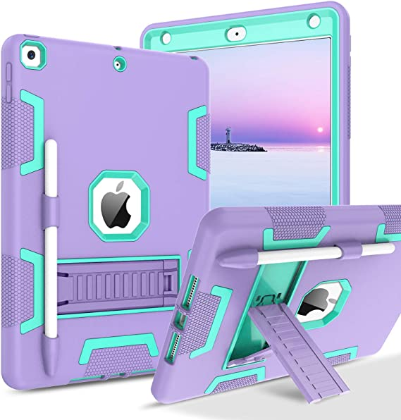 BENTOBEN iPad 8th Generation Case, iPad 7th Generation Case, iPad 10.2 2020/2019 Case, 3 in 1 Heavy Duty Rugged Shockproof Kickstand Hybrid Three Layer Protective Cover with Pen Holder, Purple/Green