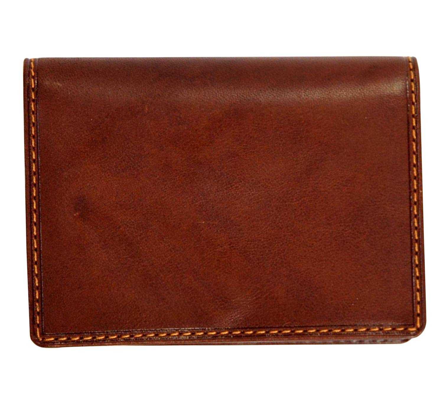 Tony Perotti Unisex Italian Cow Leather Front Pocket Business and Credit Card Case Wallet with ID Window in Brown