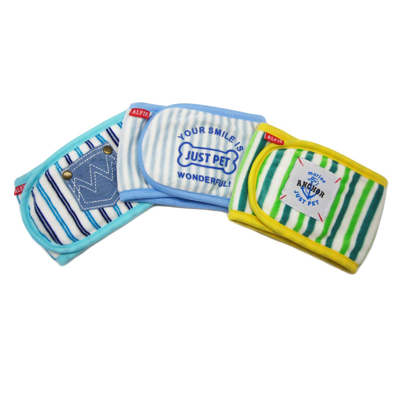 Alfie Pet by Petoga Couture - Gaki Belly Band 3-Piece Set - Size: L (for Boy Dogs)
