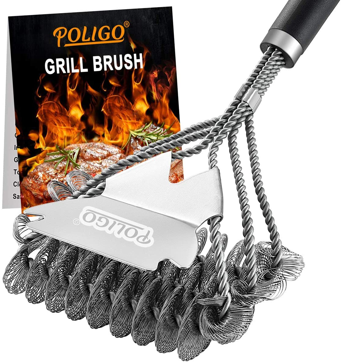 POLIGO BBQ Grill Cleaning Brush Bristle Free & Scraper - Triple Helix Design Barbecue Cleaner - Non-Bristle Grill Brush and Scraper Safe for Gas Charcoal Porcelain Grills - Ideal Grill Tools Gift: Home & Kitchen