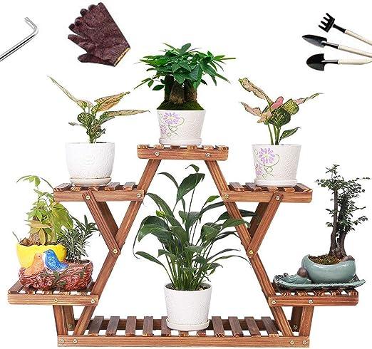 Malayas Estantería para Macetas Soporte de Madera para Plantas Flores de Estantería Decorativa para Jardín Exterior Interior: Amazon.es: Hogar