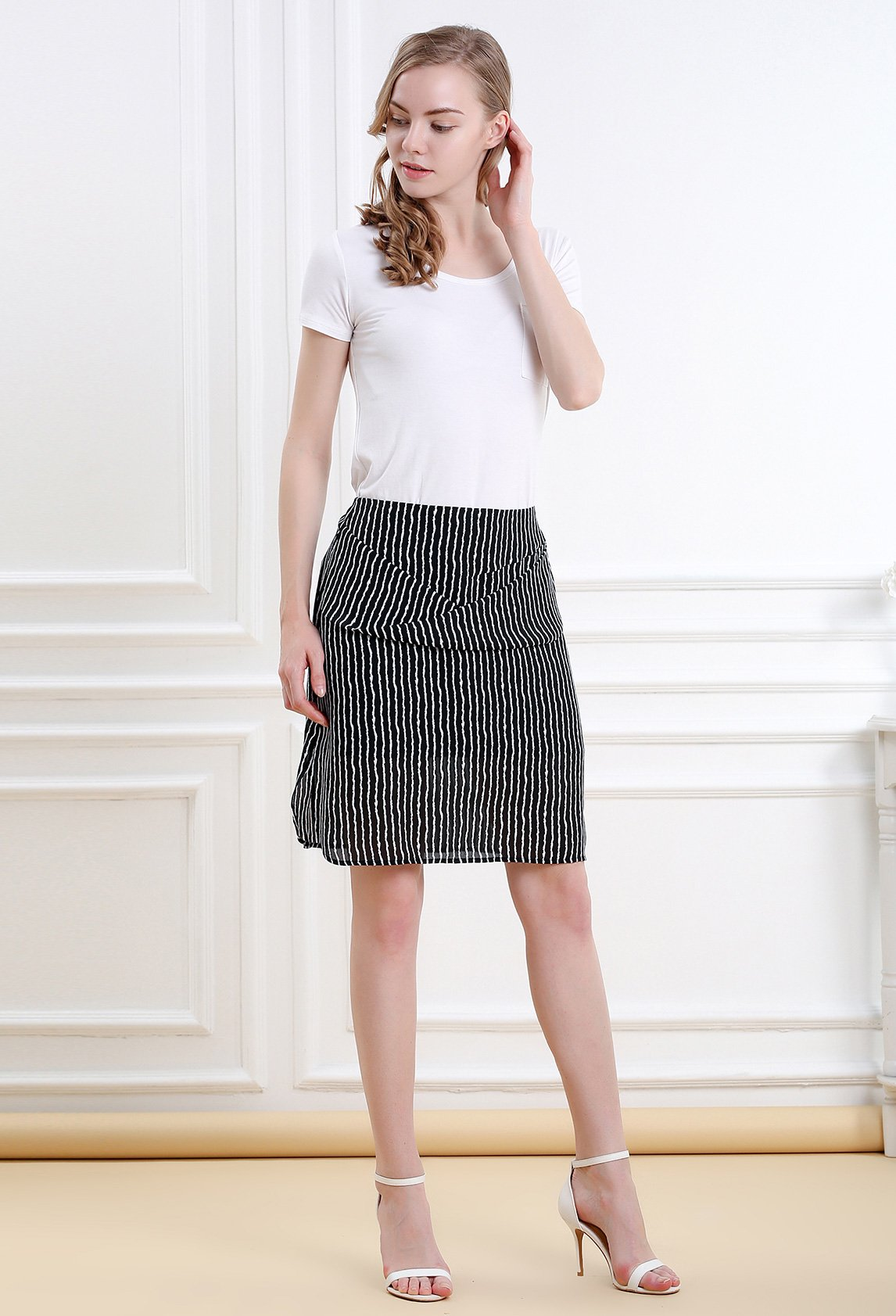 Women Striped Split Mini Skirt Crossed Front Casual A-line Skirt with Zipper XL by Vero Viva (Image #5)