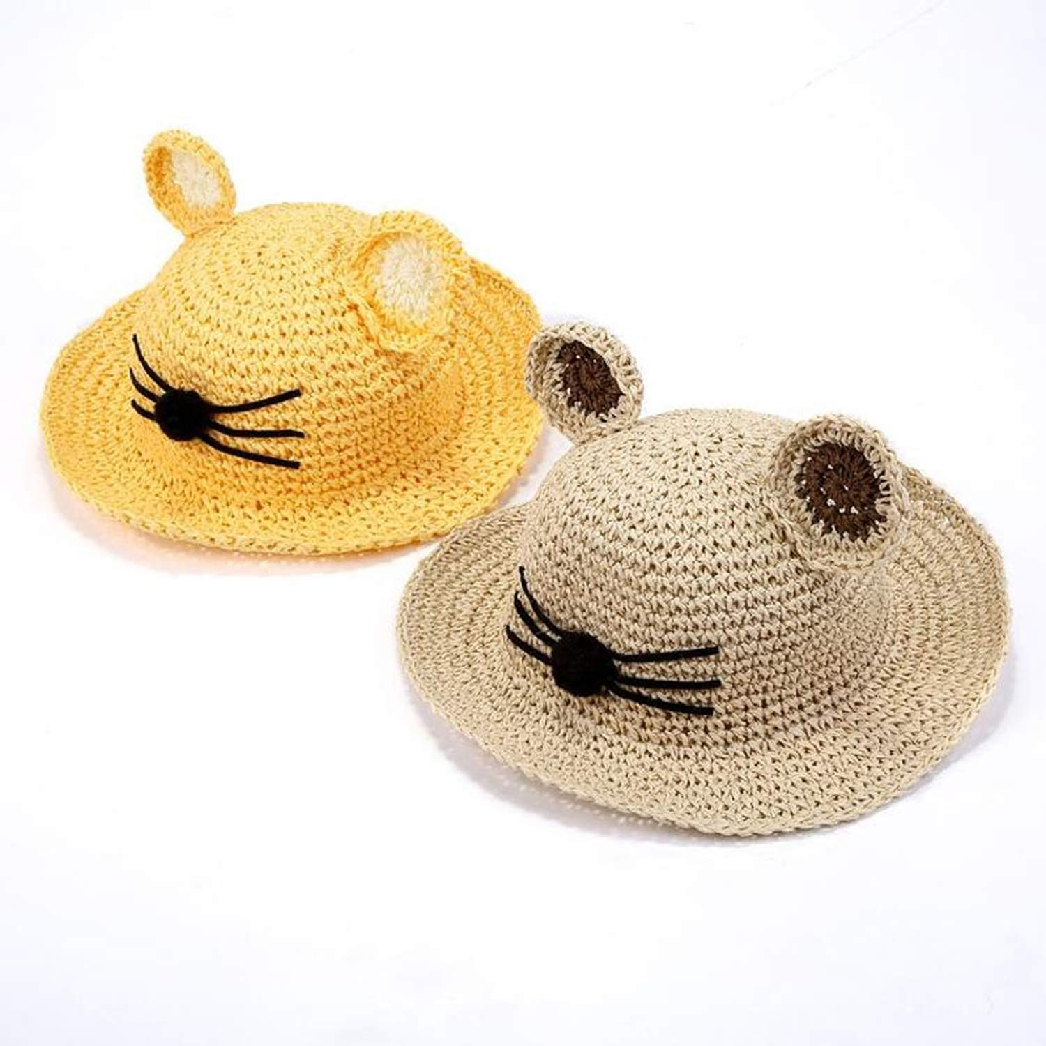 Summer New Cat Ears Straw Sun Hat for Children Boy Girls Solid Beach Cap Baby Cat Face UV Protection Sunhat