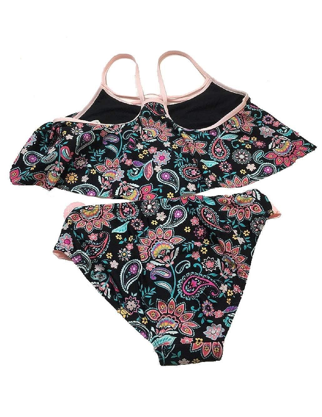 Summer Crush Big Girls 2-Pc.Black Multi Bikini Swimsuit 16