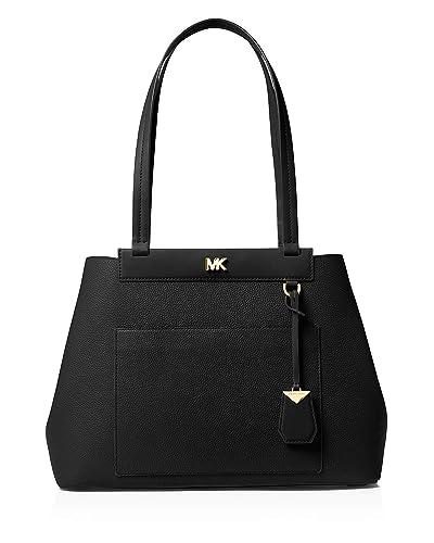 e45bcea40701 Michael Michael Kors Meredith Medium East West Bonded Leather Tote Black   Handbags  Amazon.com