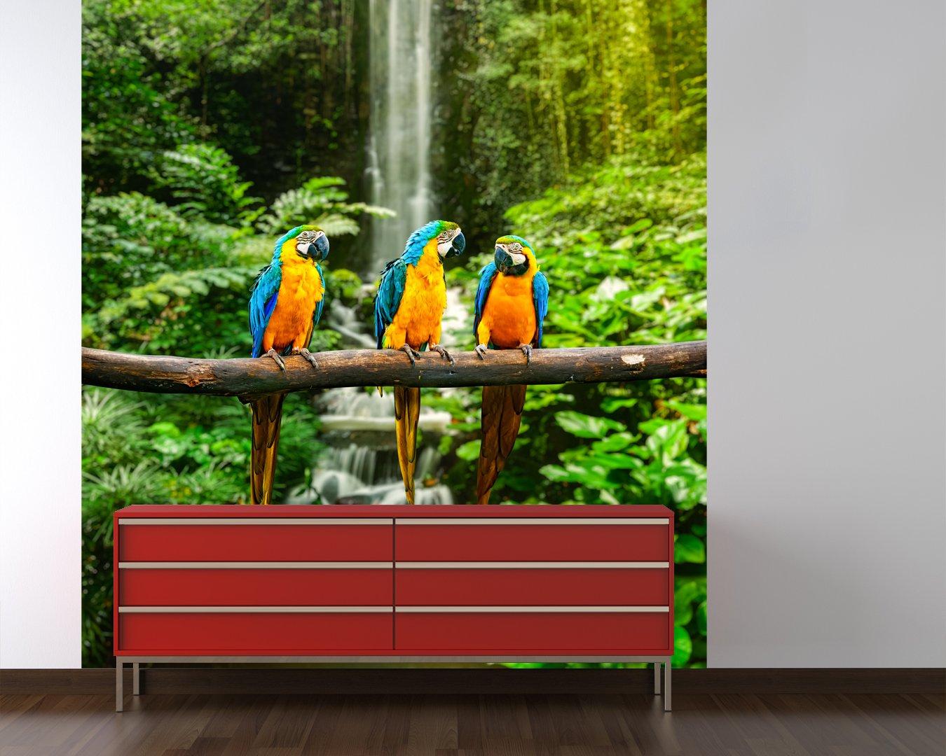 Selbstklebende Fototapete - Blau-Gelber Macaw Papagei - 178x200 cm - - - Wandtapete – Poster – Dekoration – Wandbild – Wandposter - Bild – Wandbilder - Wanddeko b18970