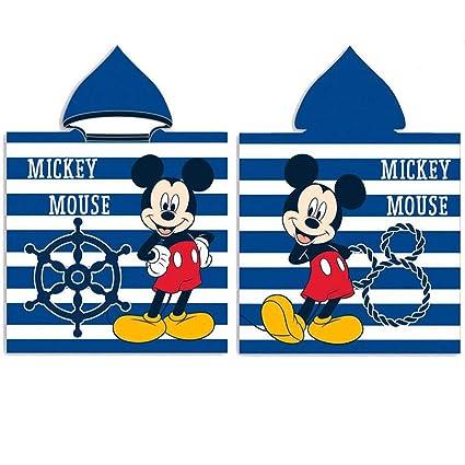 Poncho Disney Mickey Mouse Capucha Microfibra Toalla Playa Piscina Ba/ño Microfibra Infantil 50x100cm 6008