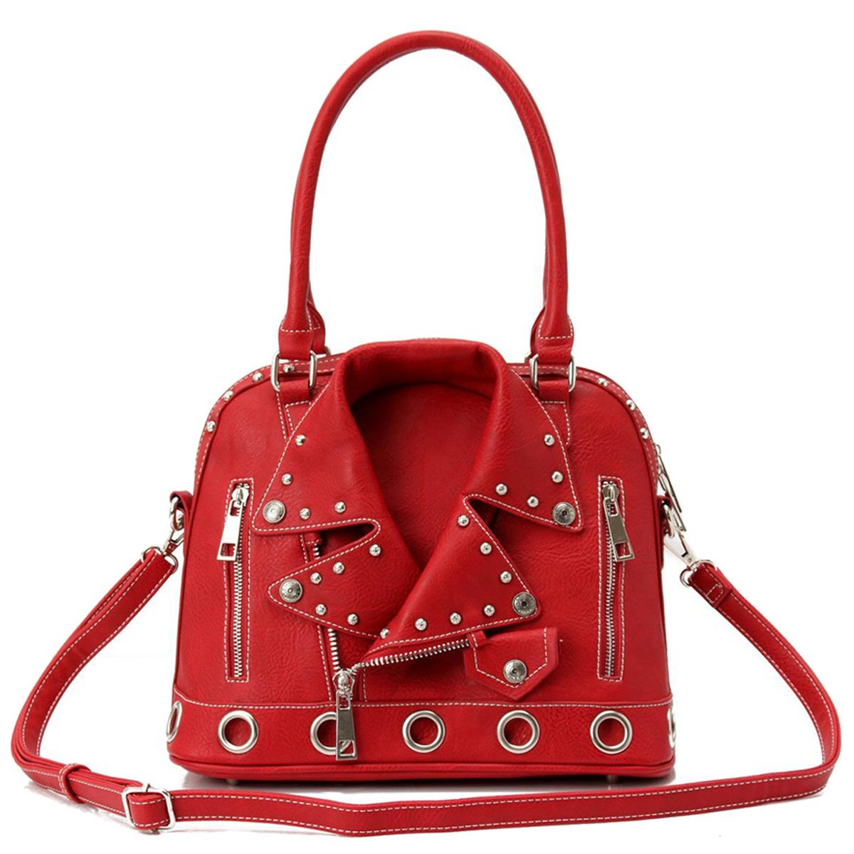Fashion Glad Motorcycle Jacket Dome Satchel Purse (red) by Fashion Glad