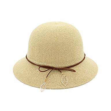 f2915e5d Image Unavailable. Image not available for. Color: Bucket Hat Summer Women  Fishing Caps Leaf Khaki Designer Elegant Beach ...