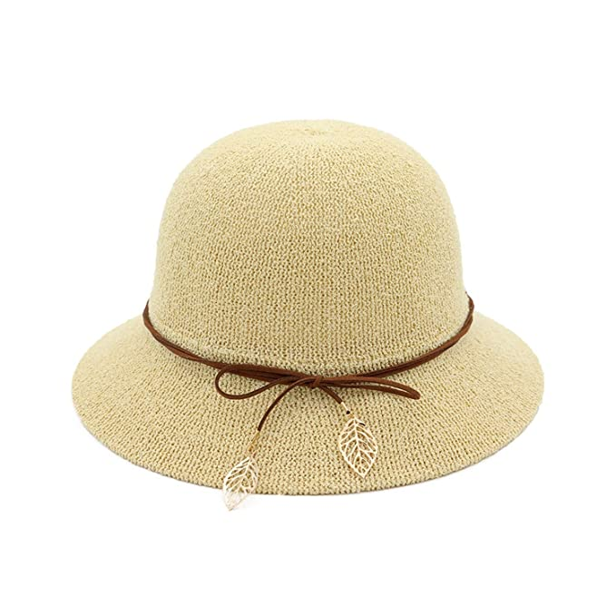 26bfff696be Image Unavailable. Image not available for. Color  Bucket Hat Summer Women  Fishing Caps Leaf Khaki Designer Elegant Beach Sun Hat Packable Spring  Hawaiian
