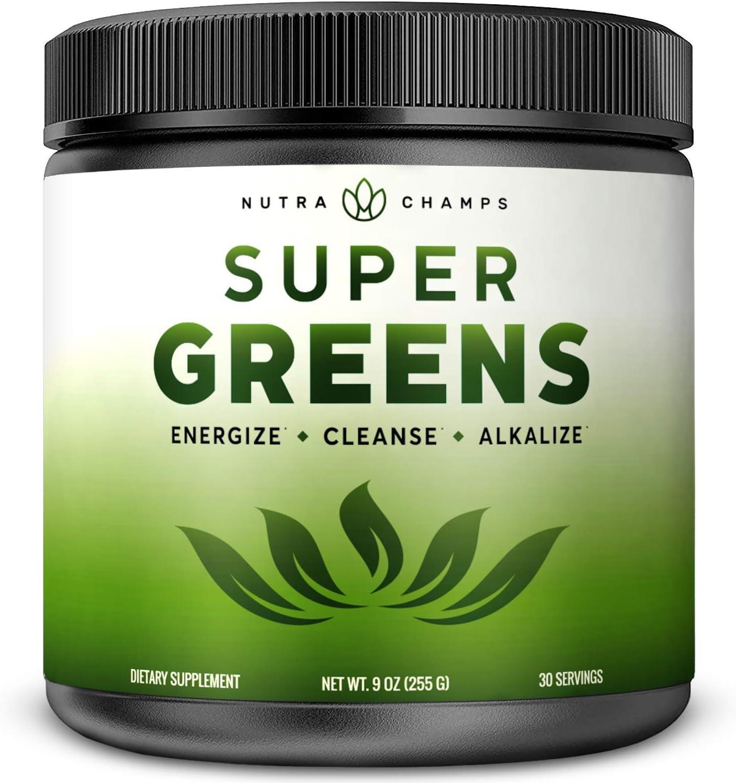 Super Greens Powder Premium Superfood – 20 Organic Green Veggie Whole Foods – Wheat Grass, Spirulina, Chlorella More – Antioxidant, Digestive Enzyme Probiotic Blends Vegan Juice Supplement