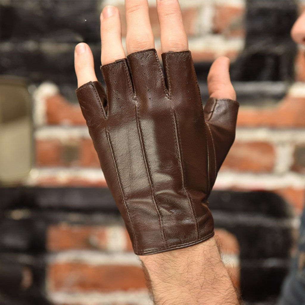 Gloves Men's fingerless Leder bezieht sich auf den halben Finger Hand-Fahren Fitness Sport Outdoor Schaffell Handschuhe ( Farbe   Braun , Größe   L )