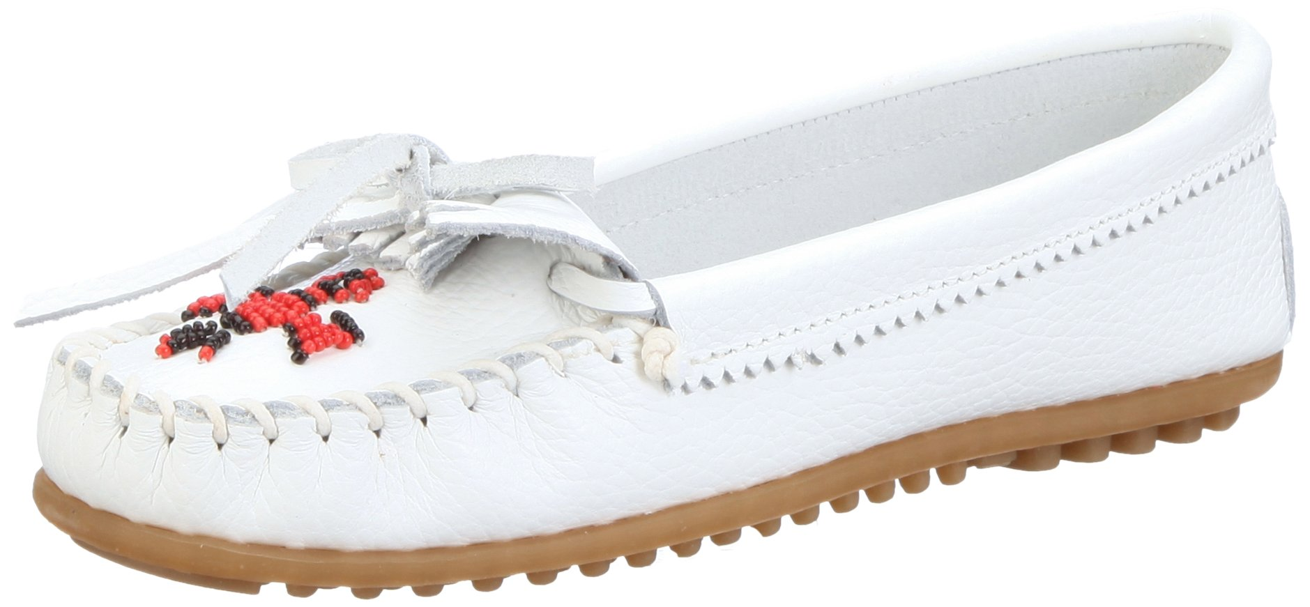 Minnetonka Women's Thunderbird II Moccasin,White Smooth,5.5 M US
