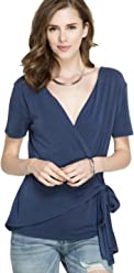 7aa0bf7d206 She + Sky Women s Short Sleeve Modal Knit Surplice Faux Wrap Top with Side  Tie