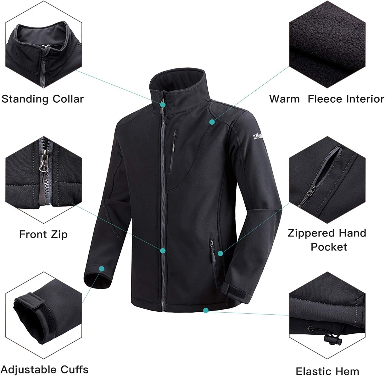 Wantdo Mens Windproof Softshell Jacket Insulated Spring Autumn Outerwear