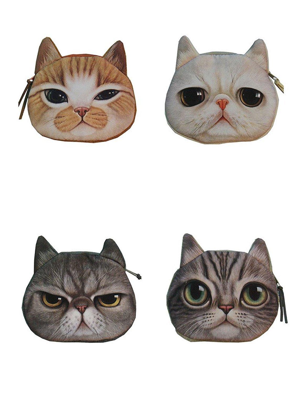 Sulida 4PCS Cute Lifelike Cat Face Bag Zipper Case Coin Money Purse Wallet Bag Pouch Handbag by Enjoydeal