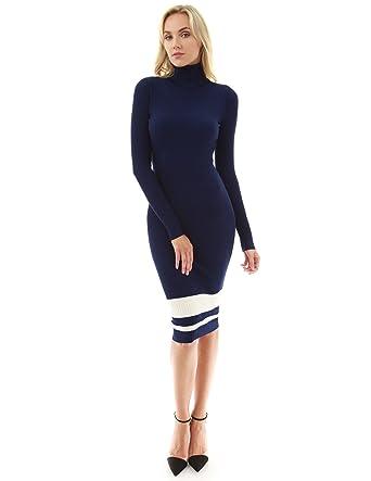 PattyBoutik Damen geripptes Strickkleid mit Rollkragen und langen Ärmeln  (dunkelblau und elfenbein 36/S