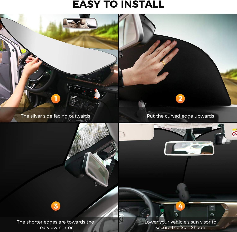 Titanium Silver Fabric Material Foldable 2-Piece Car Front Window Sunshade Blocks UV Rays Sun Visor AstroAI Windshield Sun Shade Sports Size Small 23.2 x 29.1 inches