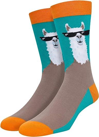 Llama cactus in desert mens socks crew socks