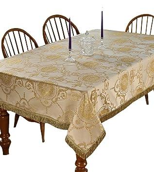 Violet Linen Prestige Damask Design Tablecloth, 60u0026quot; X 120u0026quot;, ...