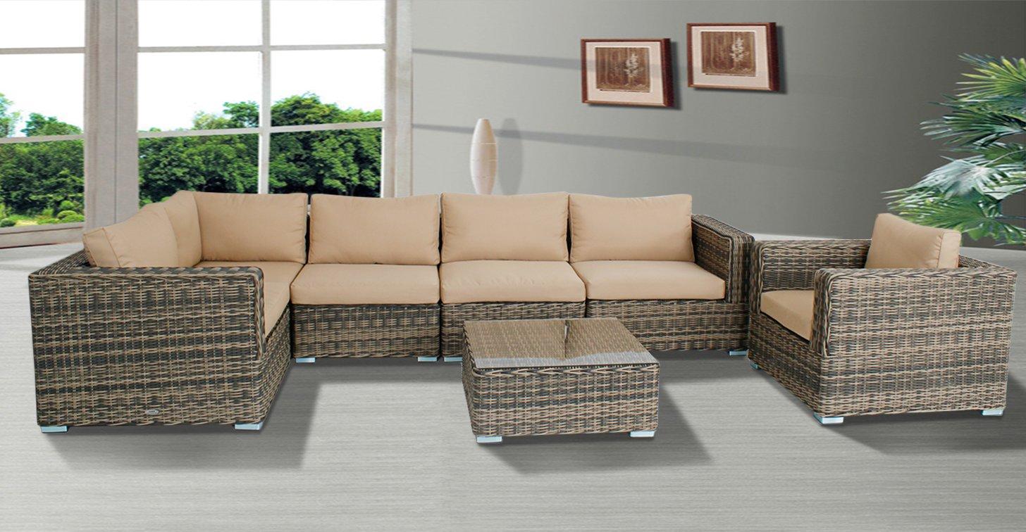 Amazon com outdoor wicker sectional sofa chair patio furniture set home garden sofas mix color beige cushion garden outdoor